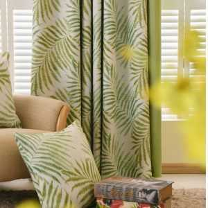Blackout Curtains with Tropical Palms for Bedroom
