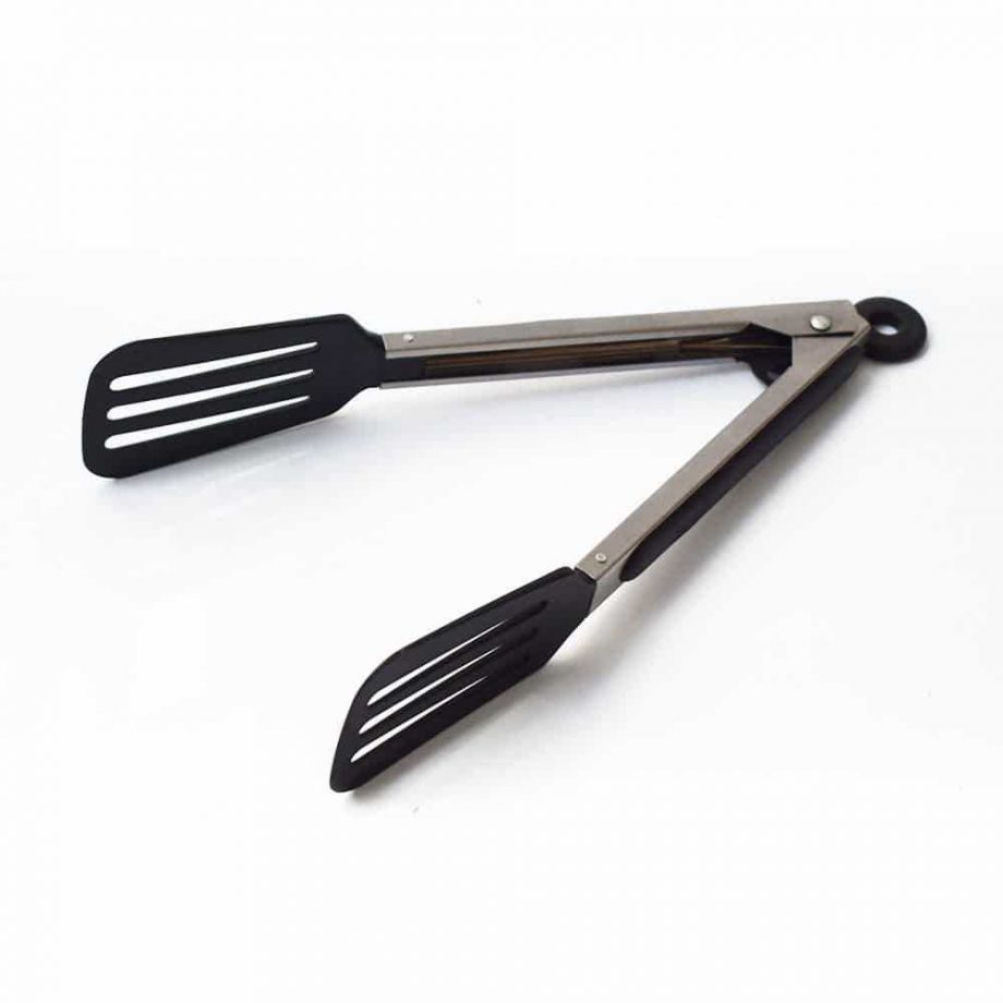 Black Stainless Steel BBQ Tongs