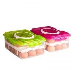 Capacious 2-Tiers Plastic Eggs Storage Box