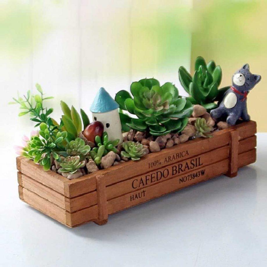 Eco-Friendly Wooden Flowerpot