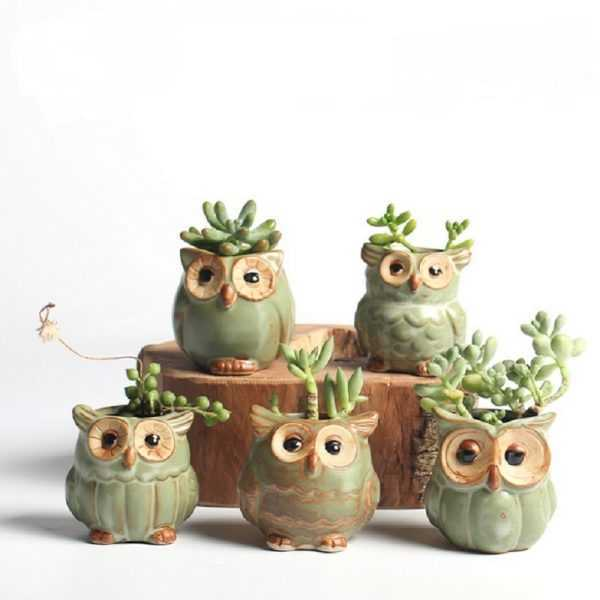 Lovely Decorative Owl Shaped Ceramic Flower Pots Set