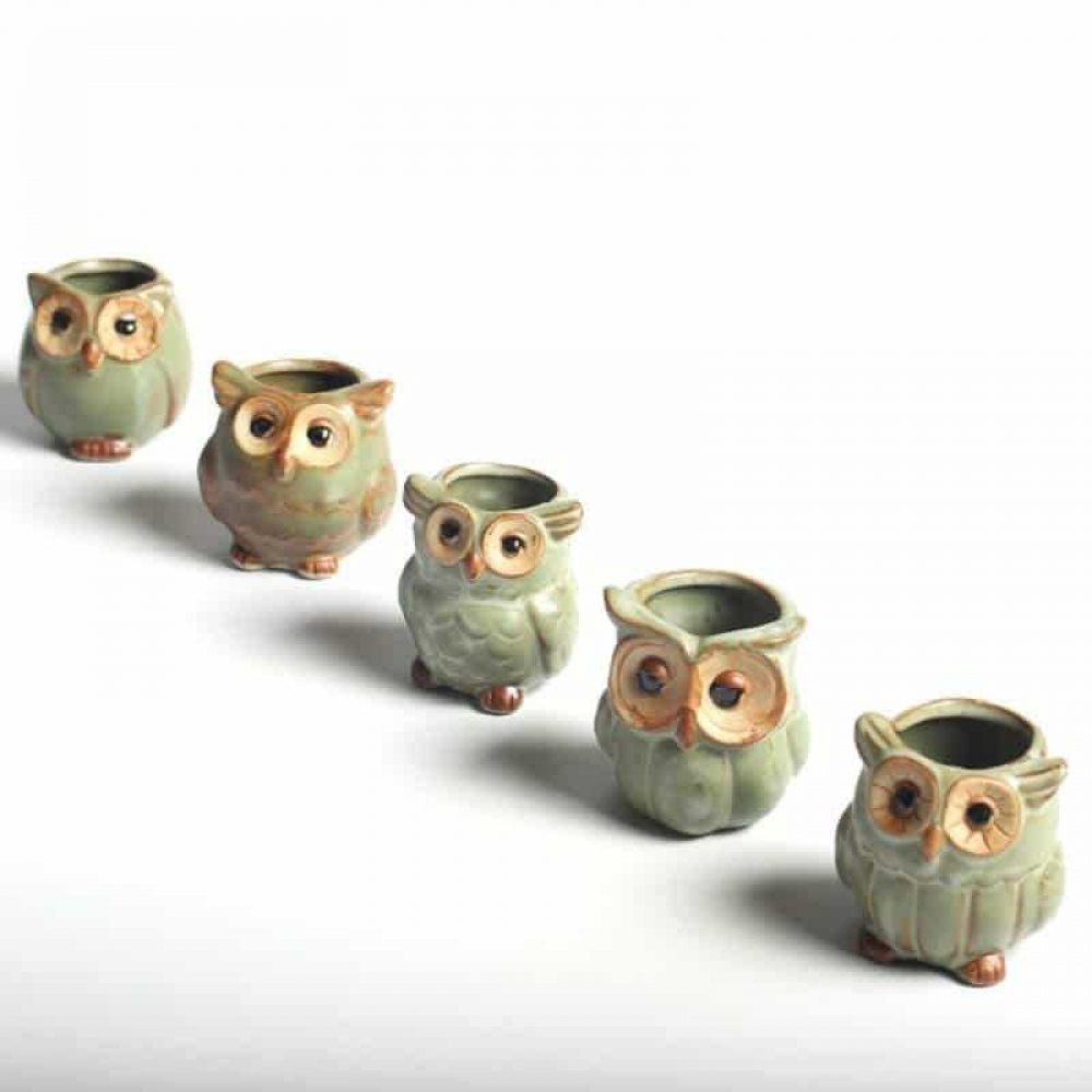 Lovely Decorative Owl Shaped Ceramic Flower Pots Set