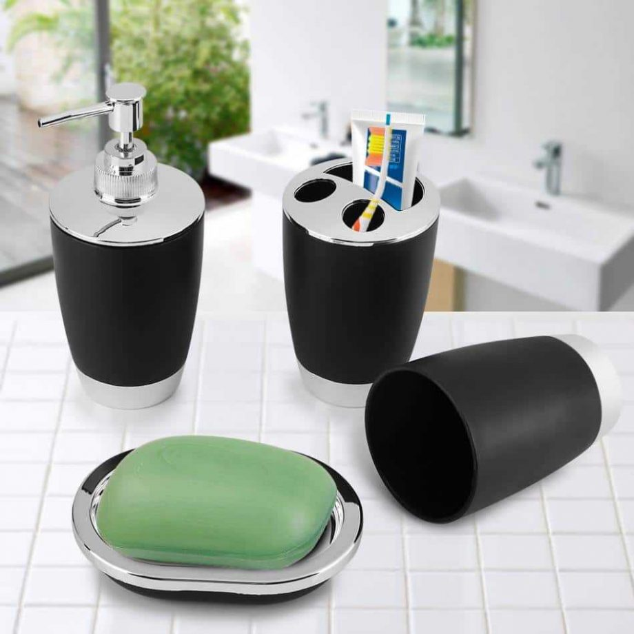 Set of 4 Bathroom Accessories and Soap Containers