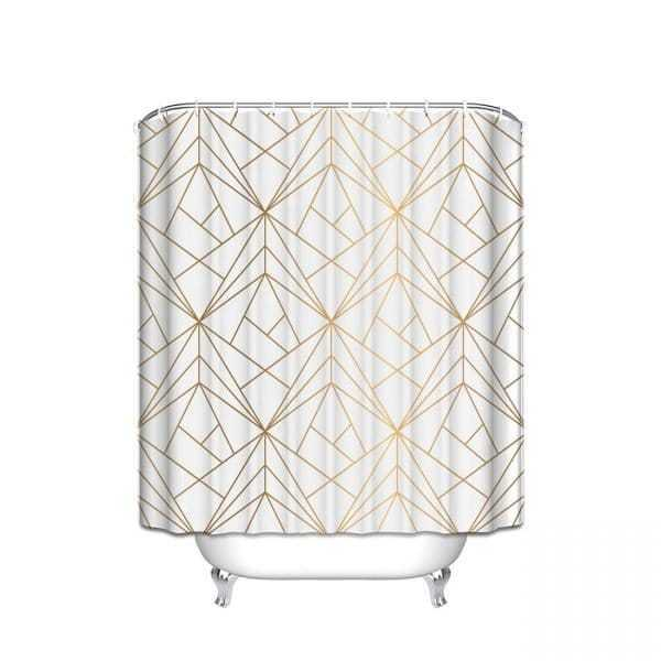 Waterproof Polyester Geometric Shower Curtains