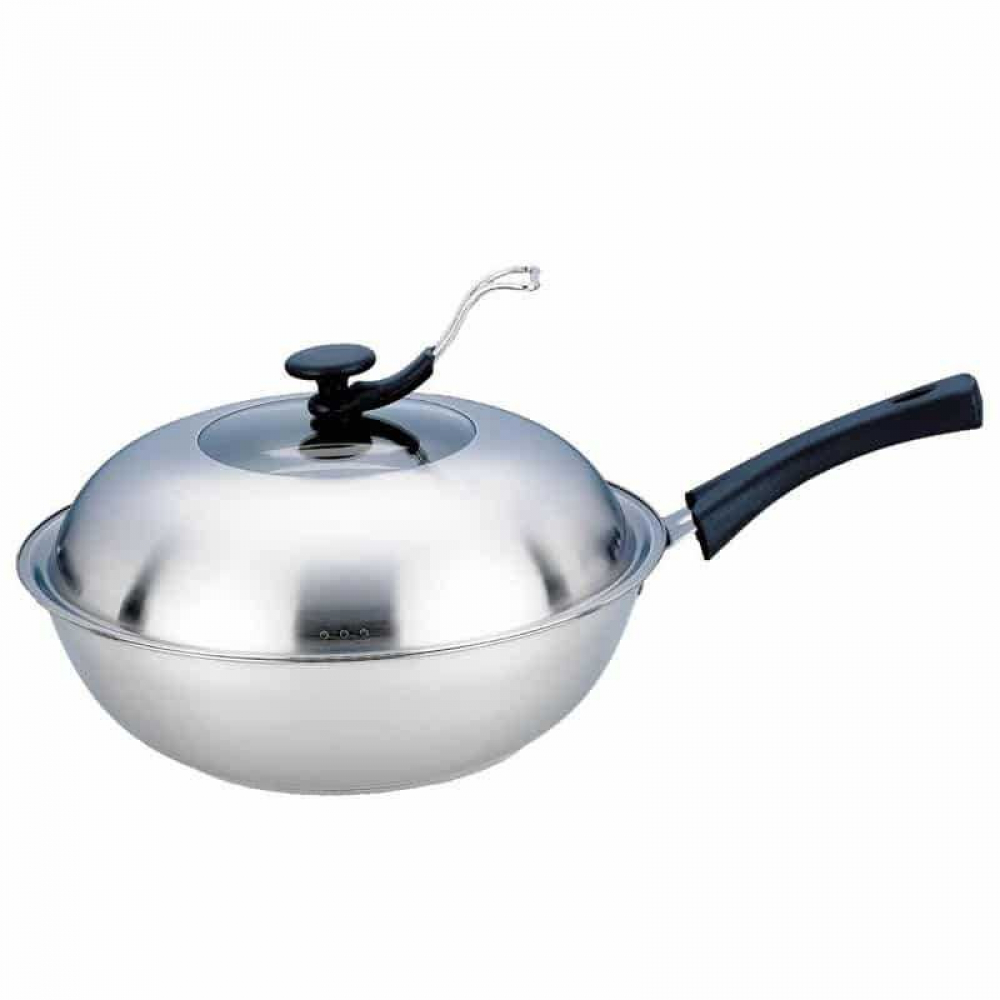High Quality Non-Stick Eco-Friendly Stainless Steel Wok with Lid