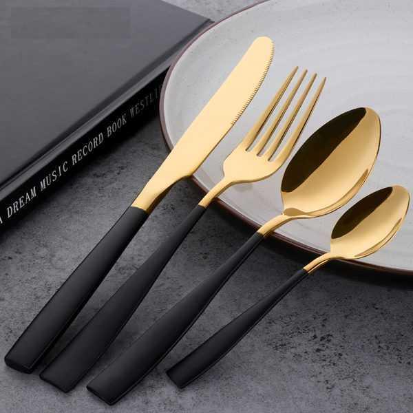 Black Gold Stainless Steel Flatware Set