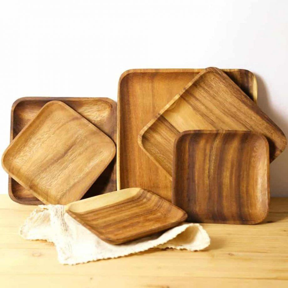 Geometric Shape Wooden Dinner Plate