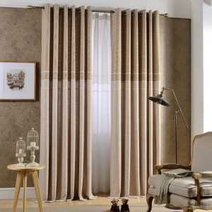 Laconic Striped Jacquard Curtains with Tulle