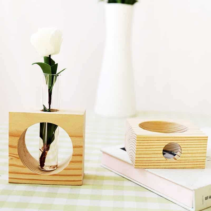 Fashion Glass Vase with Wooden Tray