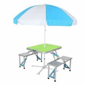 Folding Aluminum Conjoined Table and Chairs with Umbrella