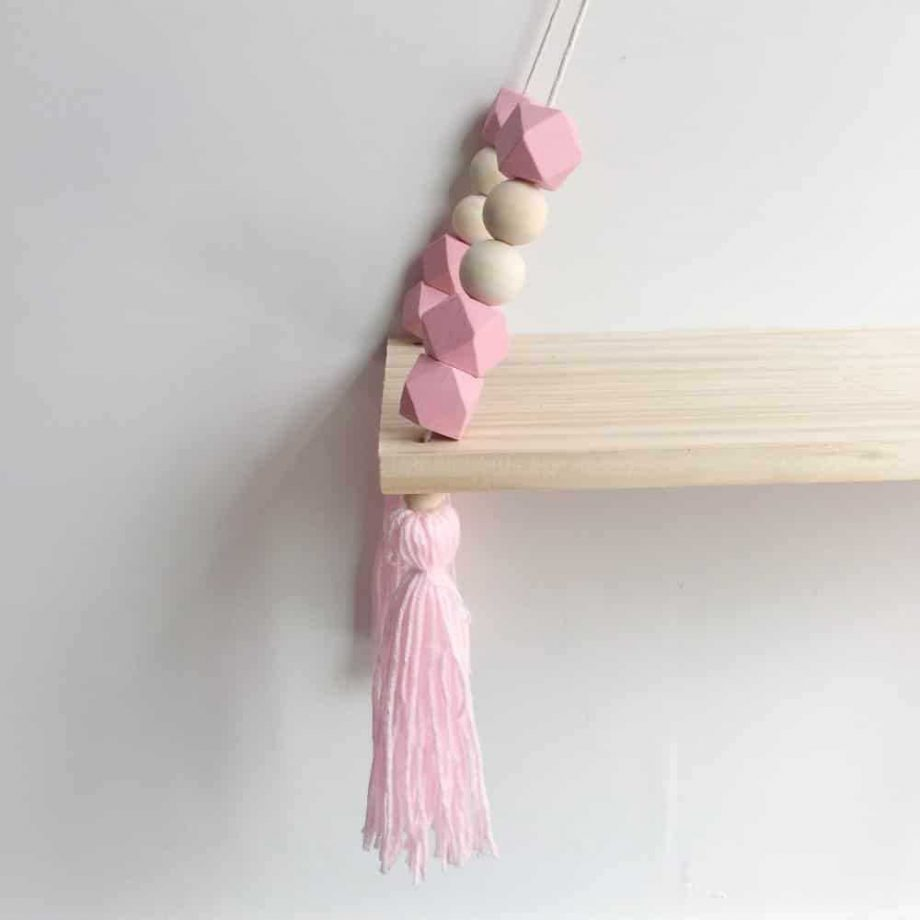 Nordic Style Wooden Beads Hanging Wall Shelf