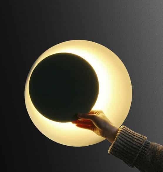 Rotating Iron Round Eclipse Wall Light
