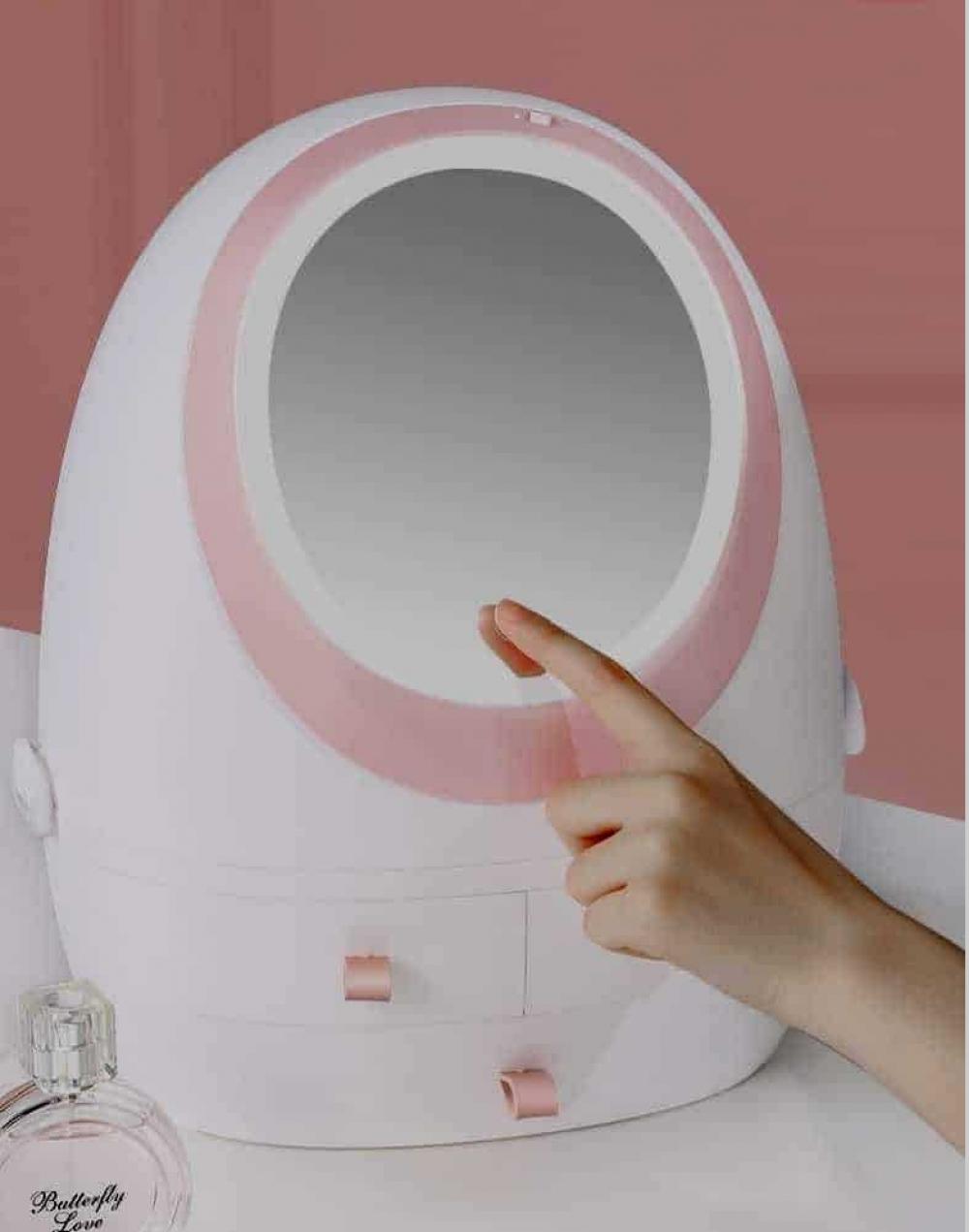 Portable Cosmetic Case Makeup Organizer Storage Box With HD Mirror